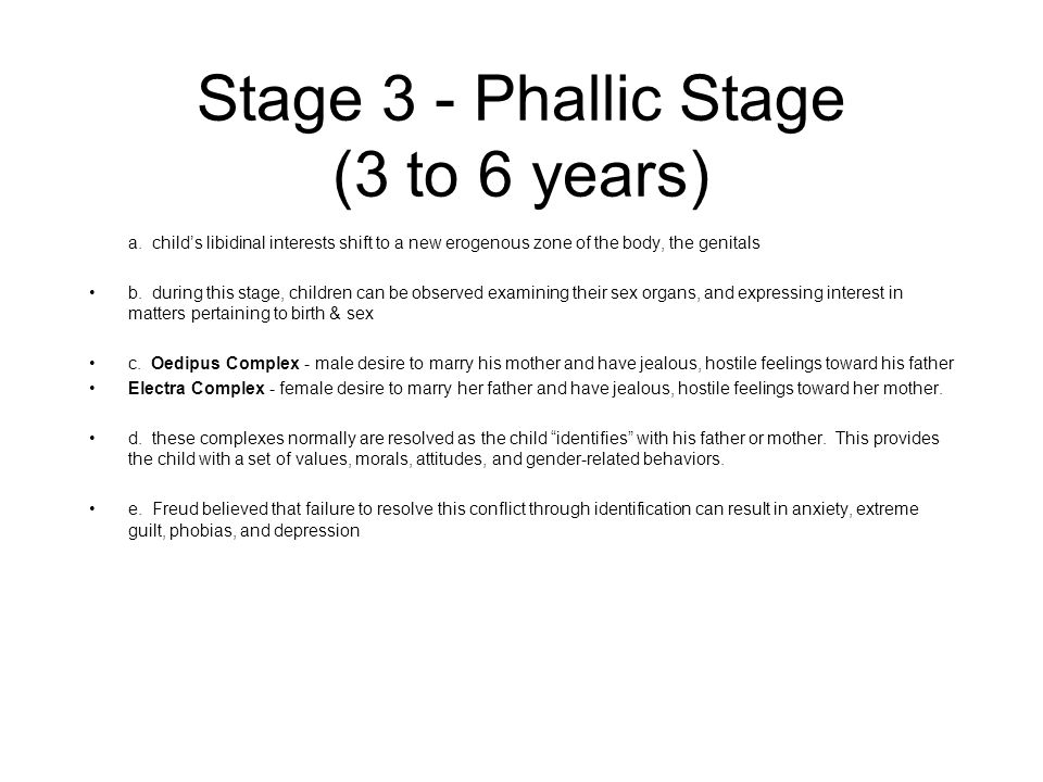 Stage 3 - Phallic Stage (3 to 6 years)