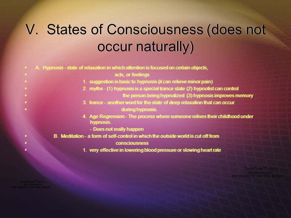 V. States of Consciousness (does not occur naturally)