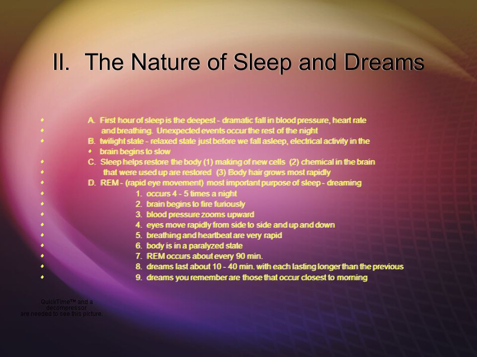 II. The Nature of Sleep and Dreams