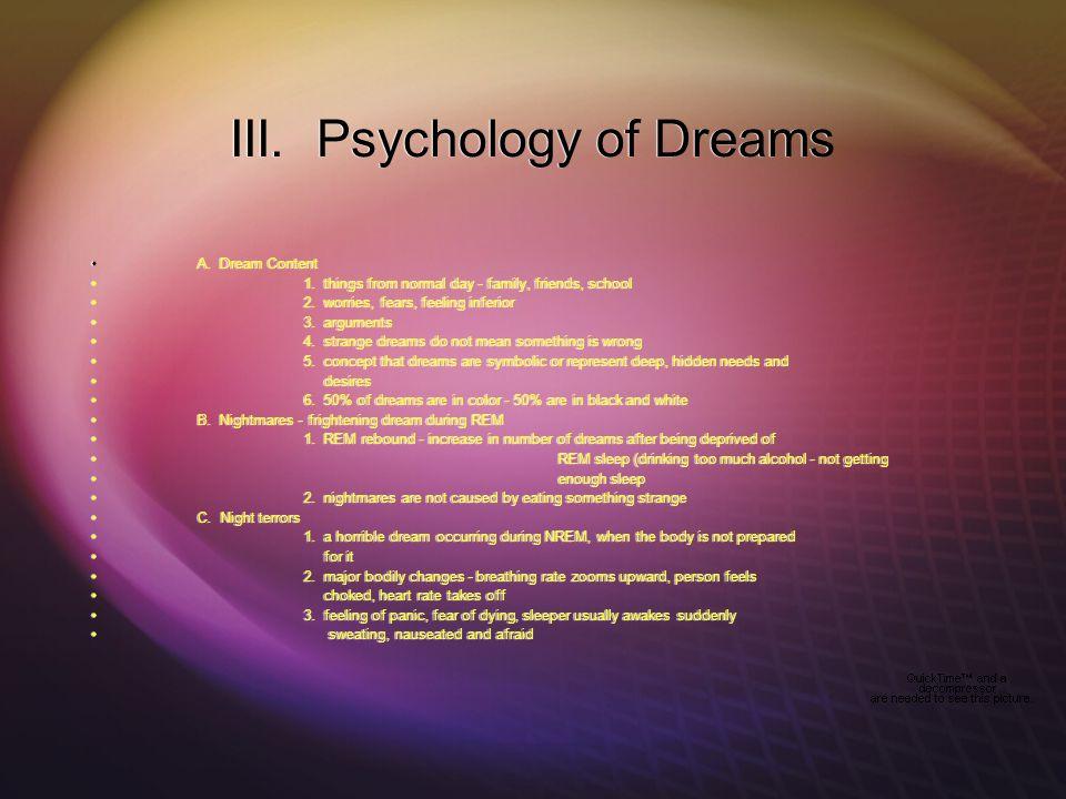 III. Psychology of Dreams