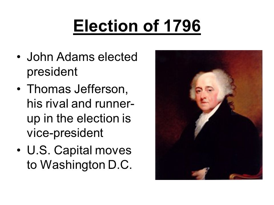 Election of 1796 John Adams elected president