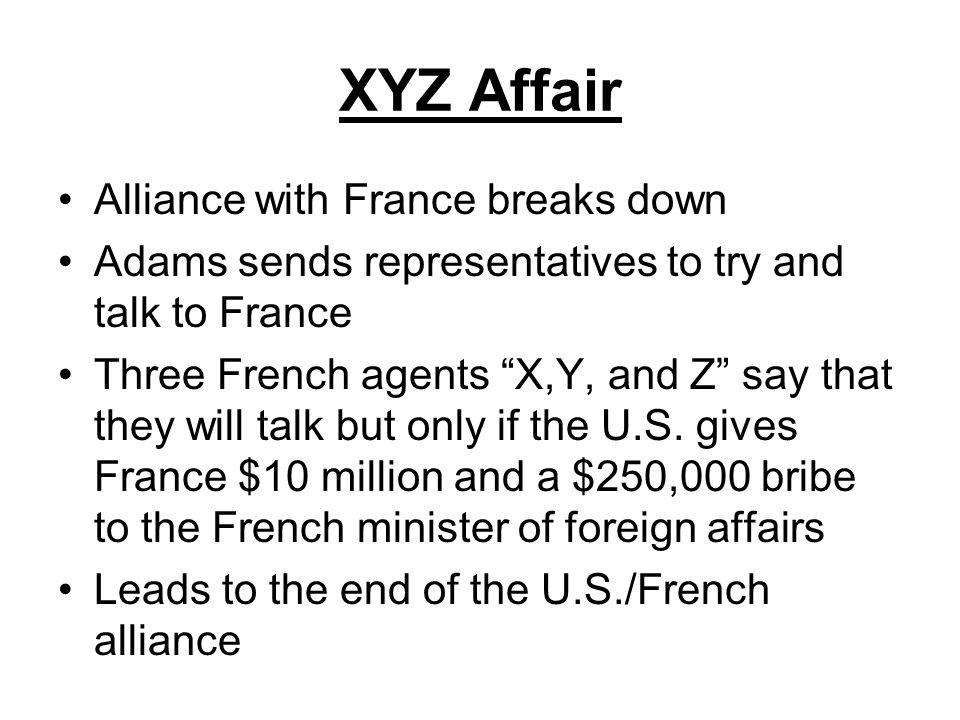 XYZ Affair Alliance with France breaks down