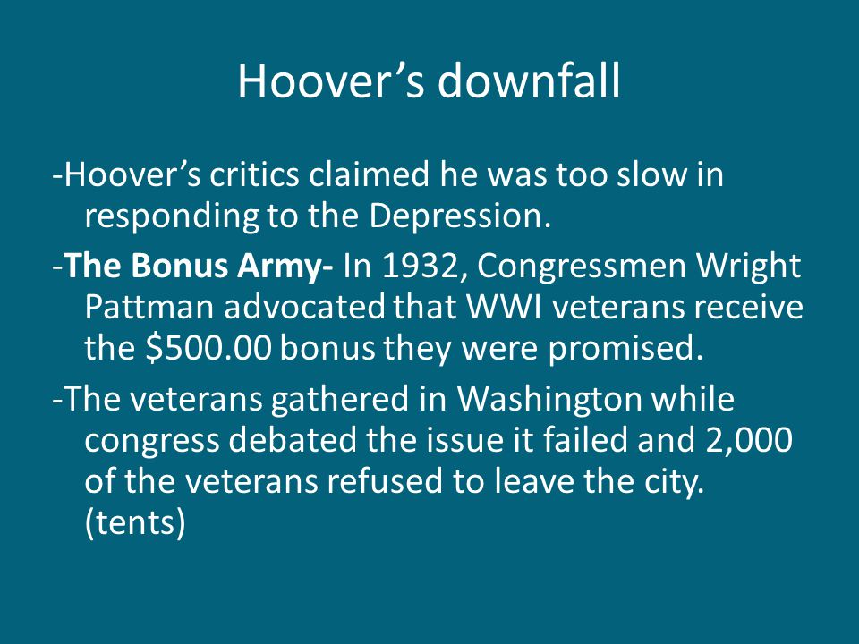 Hoover's downfall