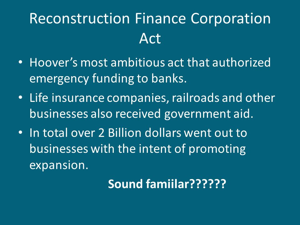 Reconstruction Finance Corporation Act
