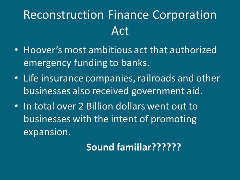 Reconstruction Finance Corporation Act
