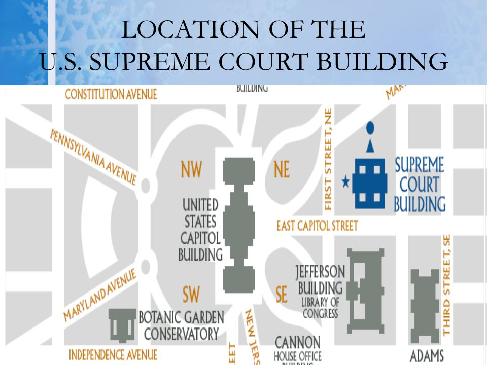 LOCATION OF THE U.S. SUPREME COURT BUILDING