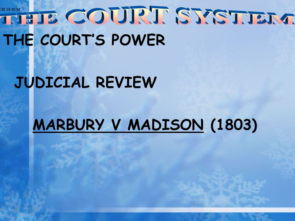 THE COURT SYSTEM THE COURT'S POWER JUDICIAL REVIEW