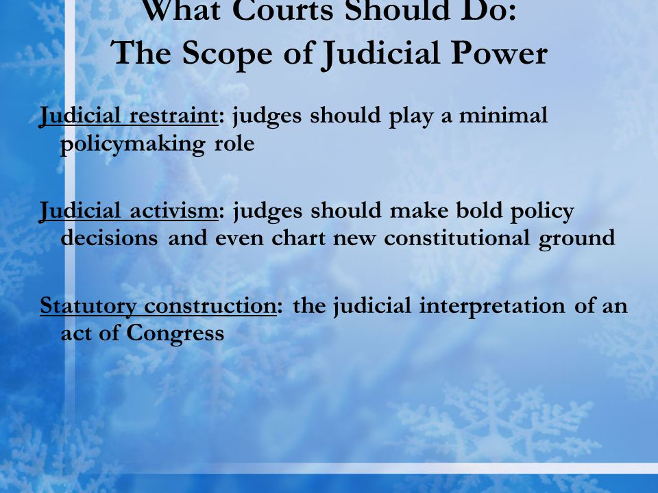 What Courts Should Do: The Scope of Judicial Power