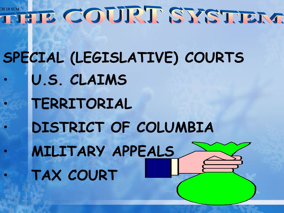 SPECIAL (LEGISLATIVE) COURTS U.S. CLAIMS TERRITORIAL