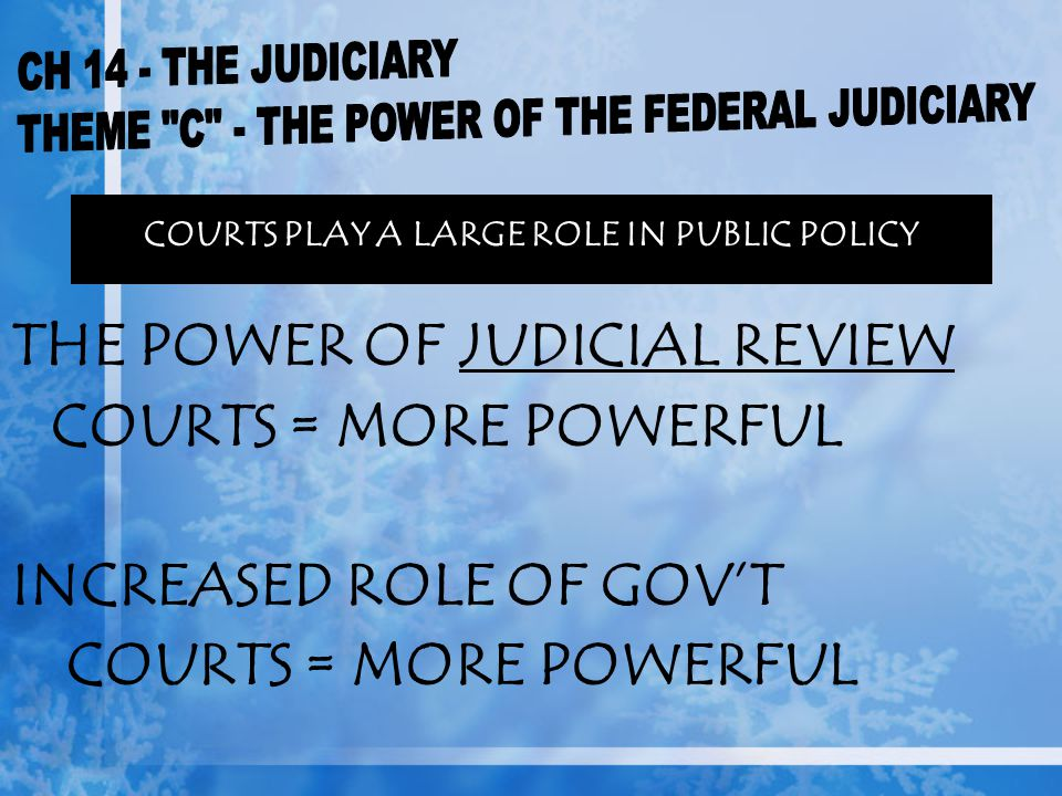 THE POWER OF JUDICIAL REVIEW COURTS = MORE POWERFUL