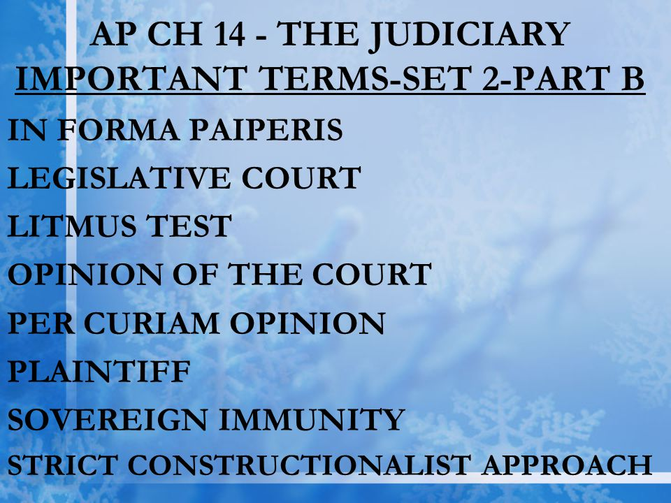 AP CH 14 - THE JUDICIARY IMPORTANT TERMS-SET 2-PART B