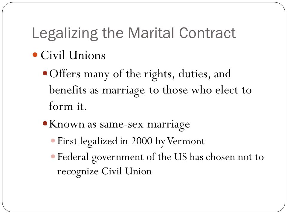 Legalizing the Marital Contract