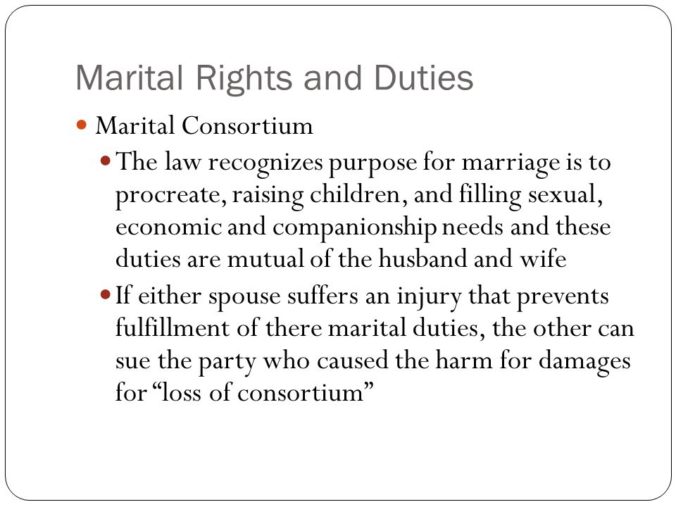 Marital Rights and Duties
