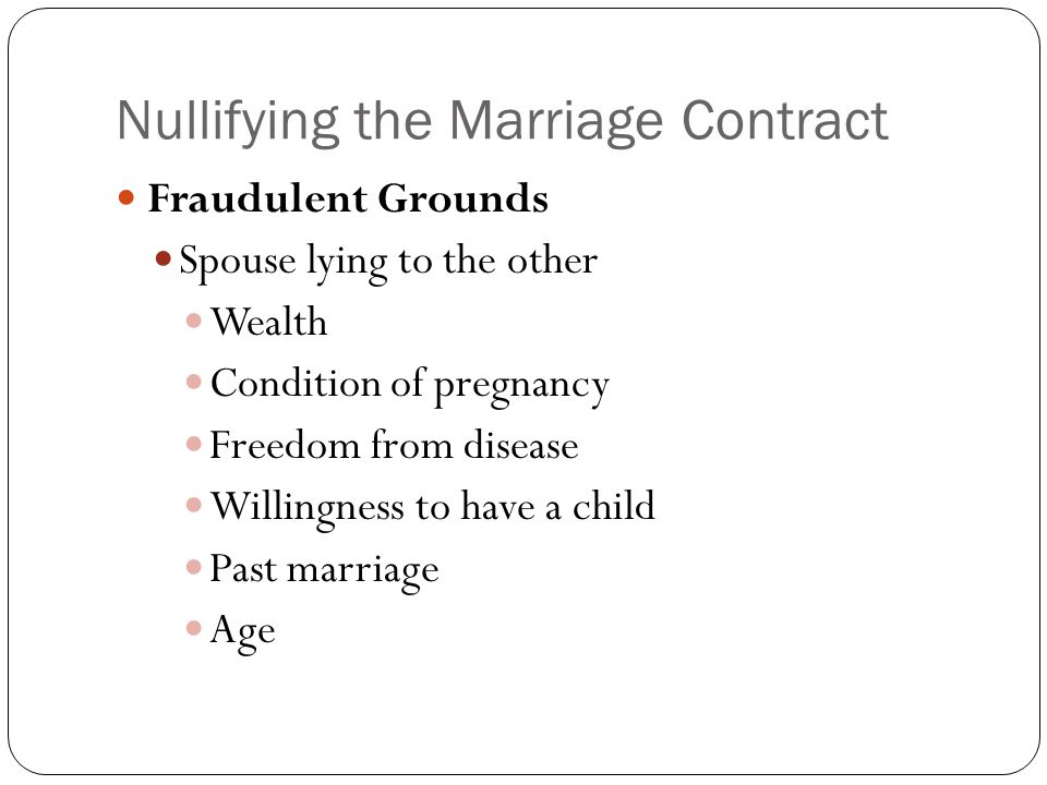 Nullifying the Marriage Contract