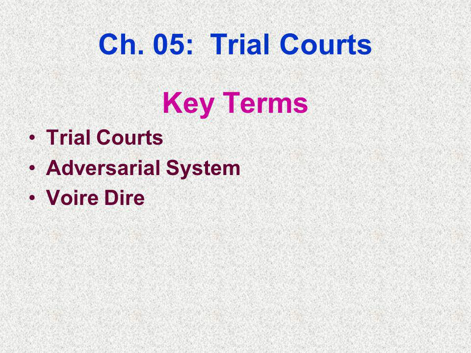 Ch. 05: Trial Courts Key Terms