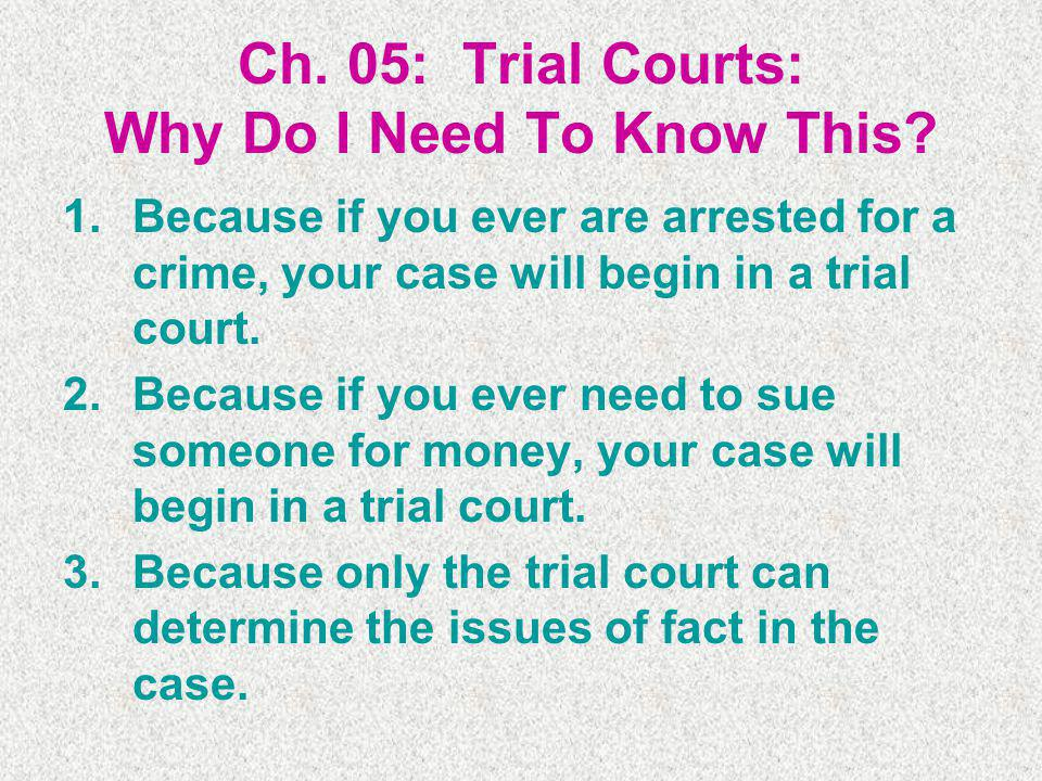 Ch. 05: Trial Courts: Why Do I Need To Know This