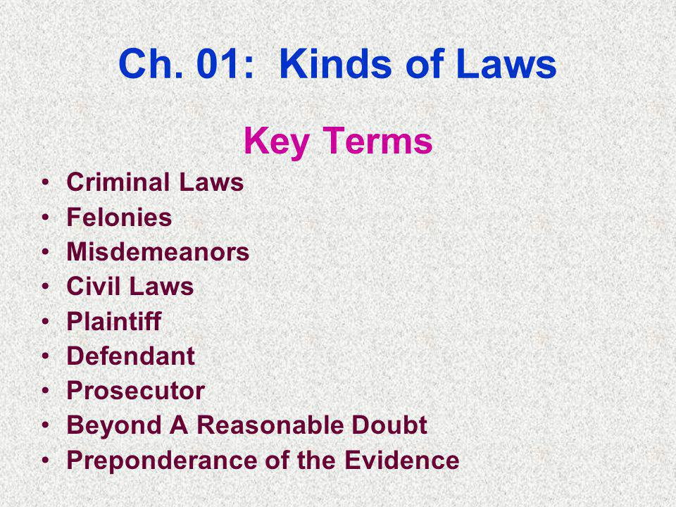 Ch. 01: Kinds of Laws Key Terms Criminal Laws Felonies Misdemeanors