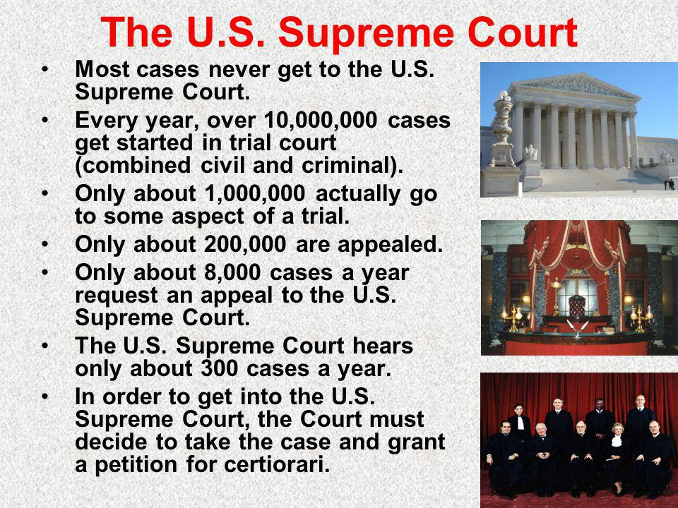 The U.S. Supreme Court Most cases never get to the U.S. Supreme Court.