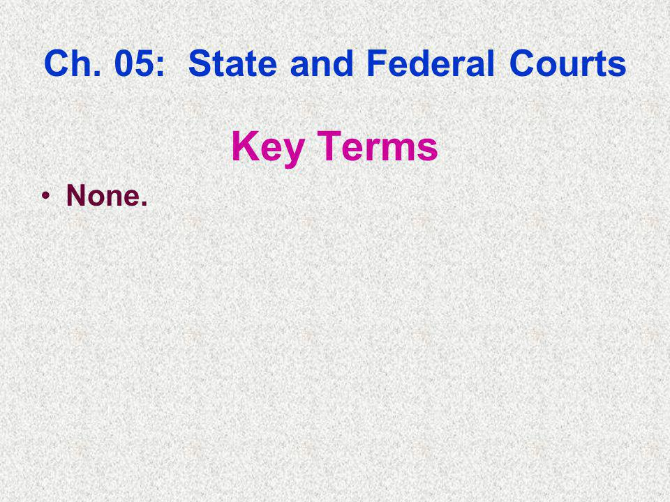 Ch. 05: State and Federal Courts