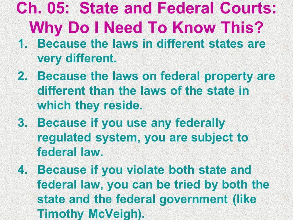 Ch. 05: State and Federal Courts: Why Do I Need To Know This