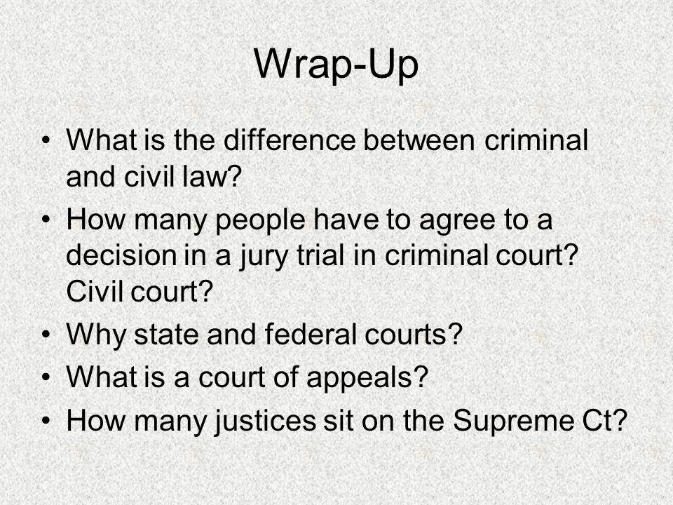 Wrap-Up What is the difference between criminal and civil law