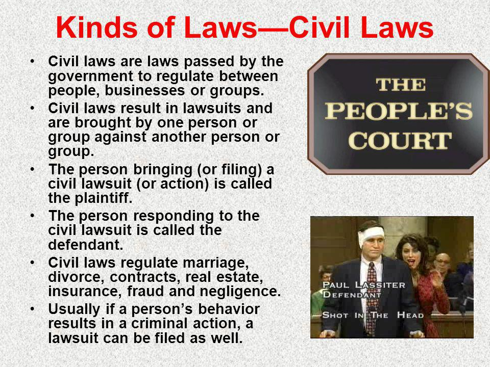 Kinds of Laws—Civil Laws