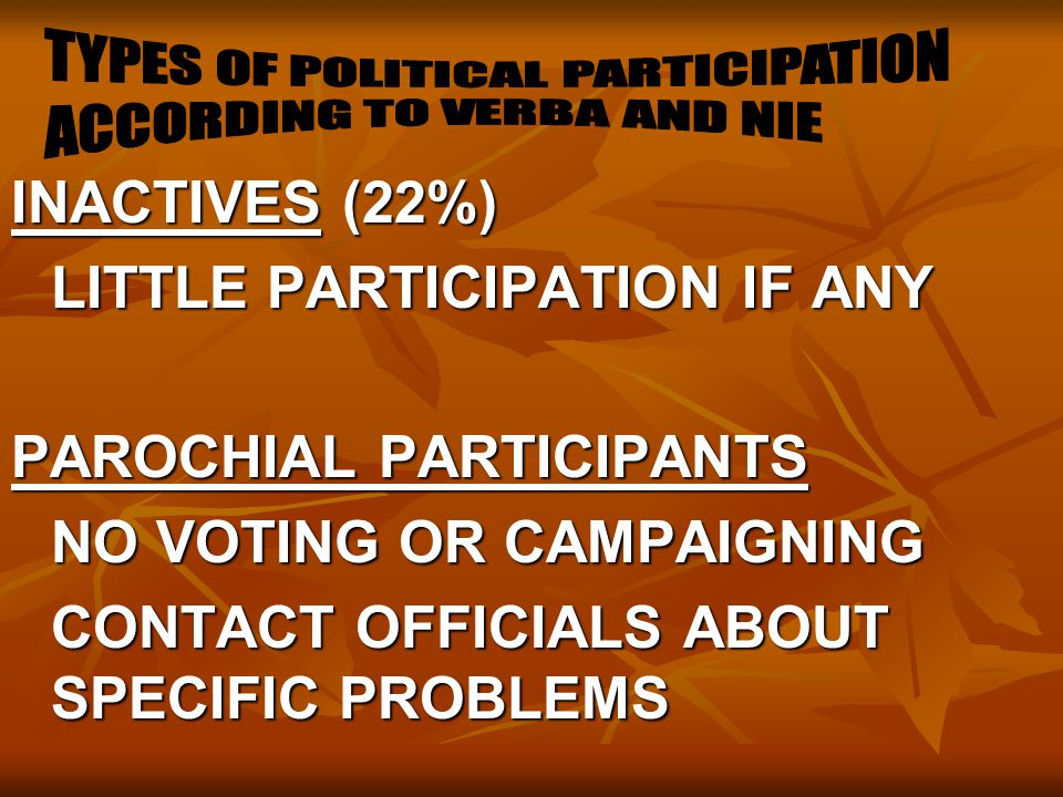 TYPES OF POLITICAL PARTICIPATION ACCORDING TO VERBA AND NIE