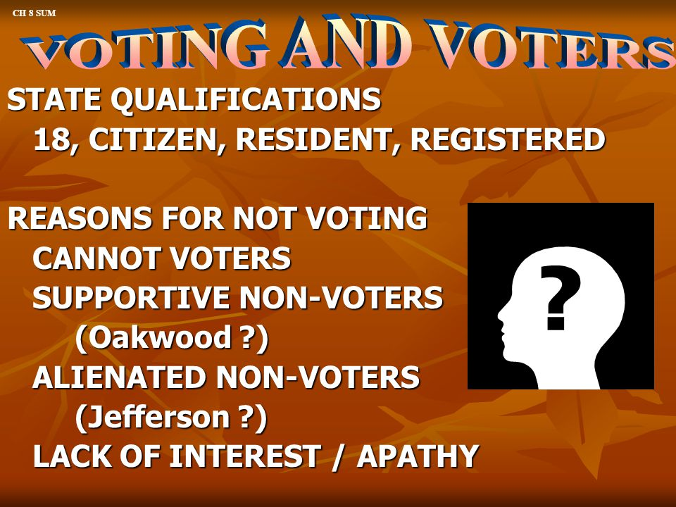 VOTING AND VOTERS STATE QUALIFICATIONS