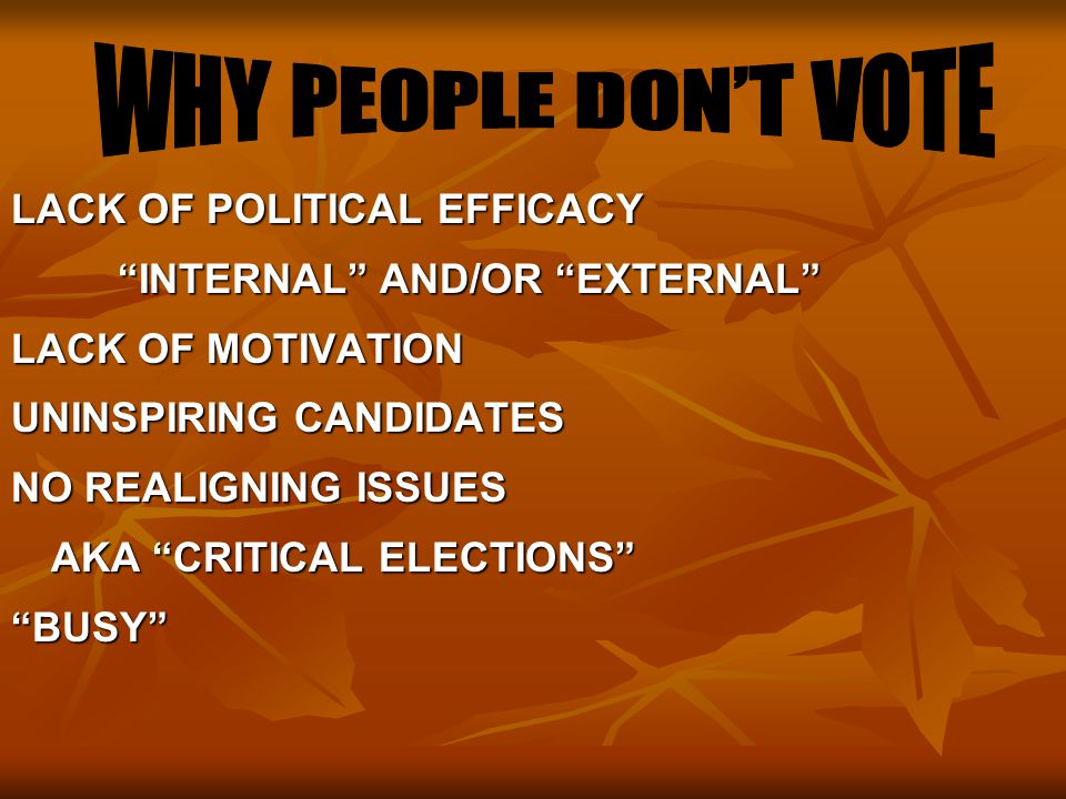 WHY PEOPLE DON'T VOTE LACK OF POLITICAL EFFICACY