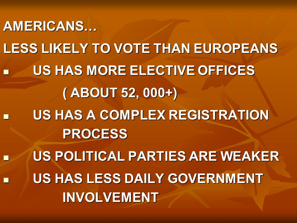 AMERICANS… LESS LIKELY TO VOTE THAN EUROPEANS. US HAS MORE ELECTIVE OFFICES. ( ABOUT 52, 000+) US HAS A COMPLEX REGISTRATION PROCESS.