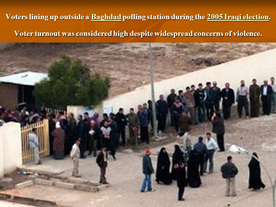 Voters lining up outside a Baghdad polling station during the 2005 Iraqi election.