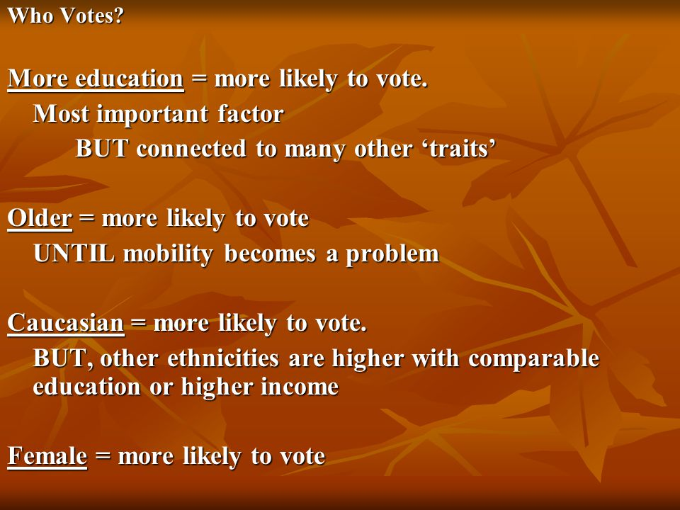 More education = more likely to vote. Most important factor