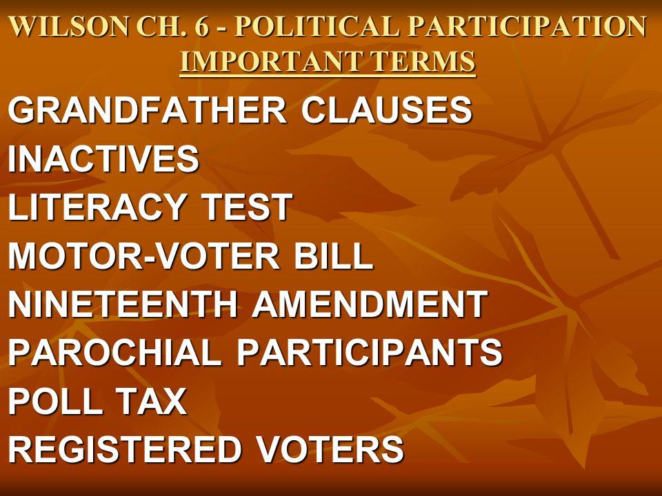 WILSON CH. 6 - POLITICAL PARTICIPATION IMPORTANT TERMS