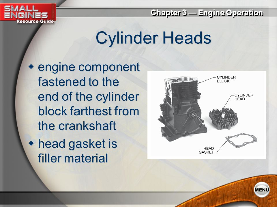 Cylinder Heads engine component fastened to the end of the cylinder block farthest from the crankshaft.