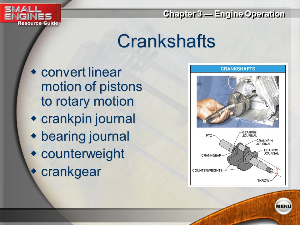 Crankshafts convert linear motion of pistons to rotary motion