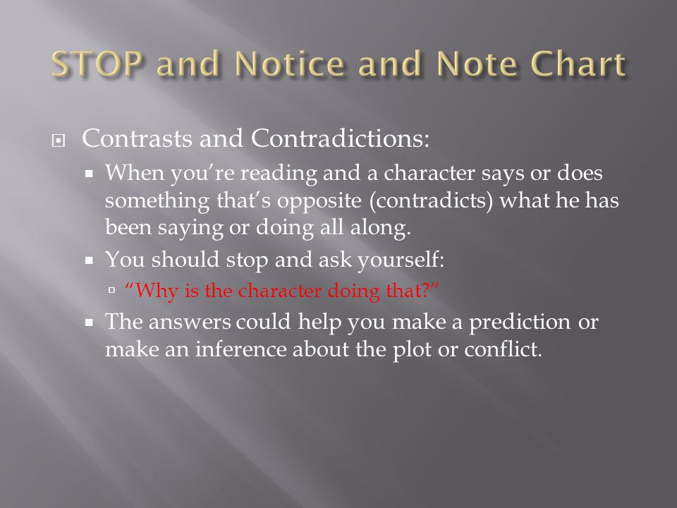 STOP and Notice and Note Chart