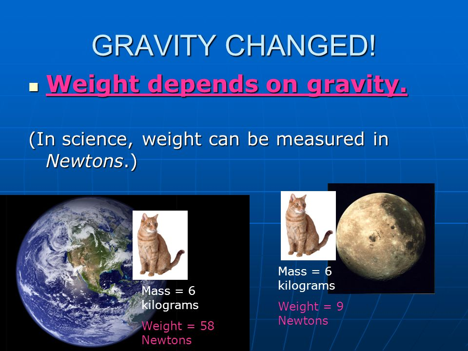 GRAVITY CHANGED! Weight depends on gravity.