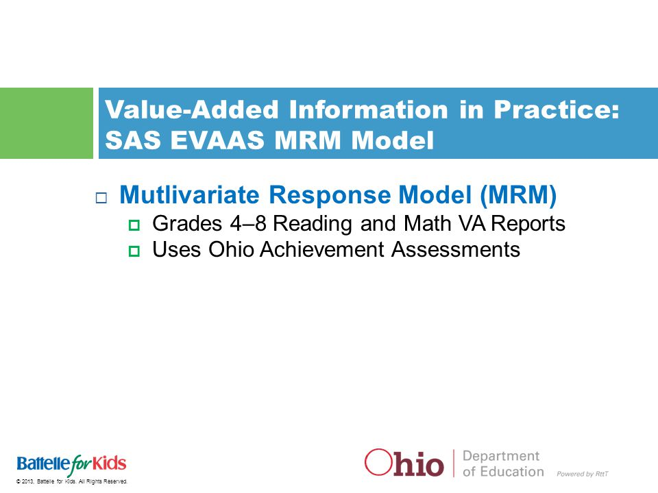 Value-Added Information in Practice: SAS EVAAS MRM Model