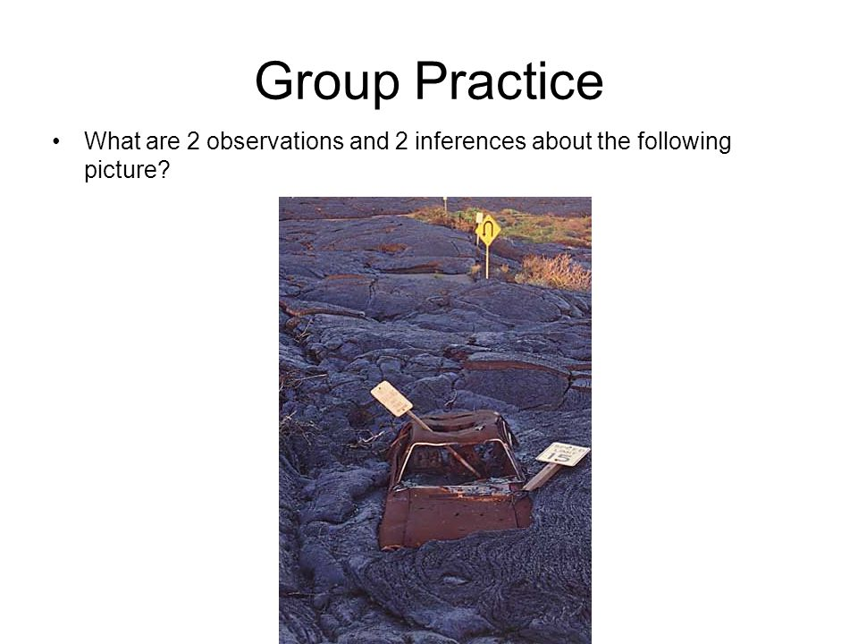 Group Practice What are 2 observations and 2 inferences about the following picture