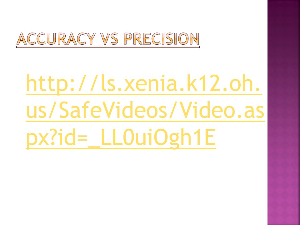 Accuracy vs Precision http://ls.xenia.k12.oh.us/SafeVideos/Video.aspx id=_LL0uiOgh1E