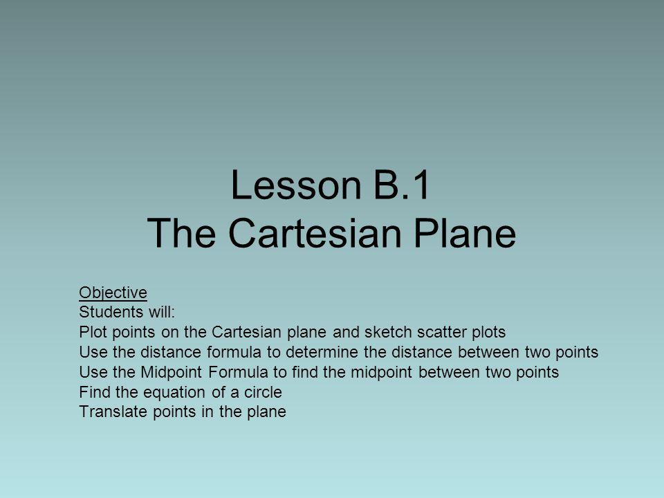 Lesson B.1 The Cartesian Plane