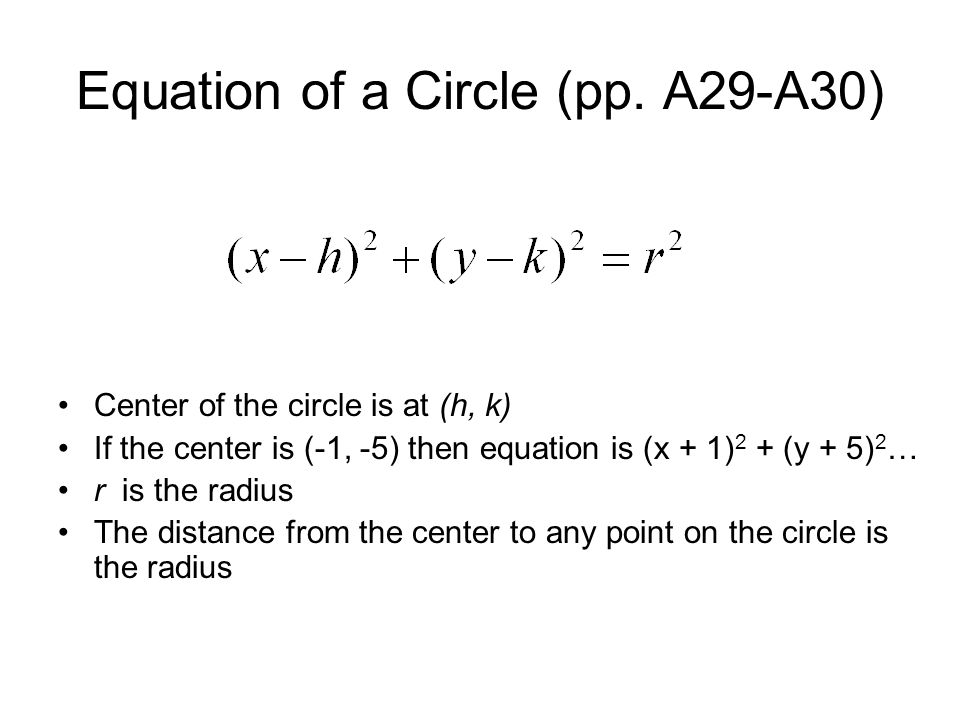Equation of a Circle (pp. A29-A30)
