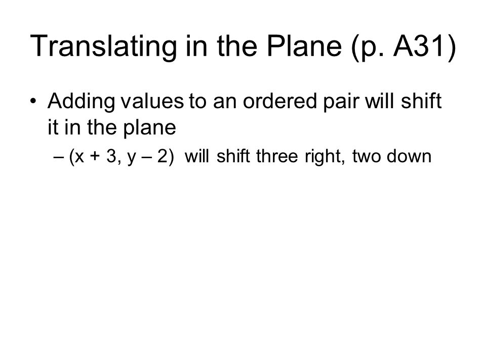 Translating in the Plane (p. A31)