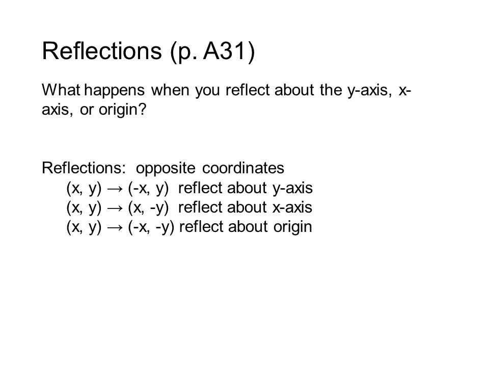 Reflections (p. A31) What happens when you reflect about the y-axis, x-axis, or origin Reflections: opposite coordinates.
