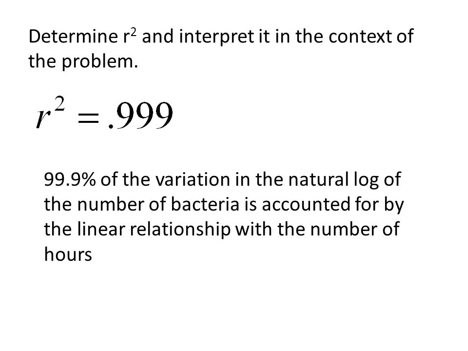 Determine r2 and interpret it in the context of the problem.
