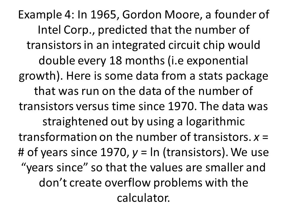 Example 4: In 1965, Gordon Moore, a founder of Intel Corp