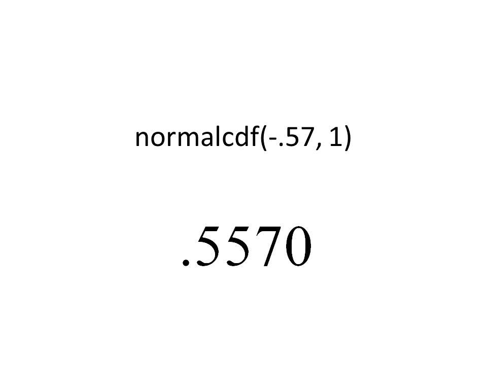 normalcdf(-.57, 1)