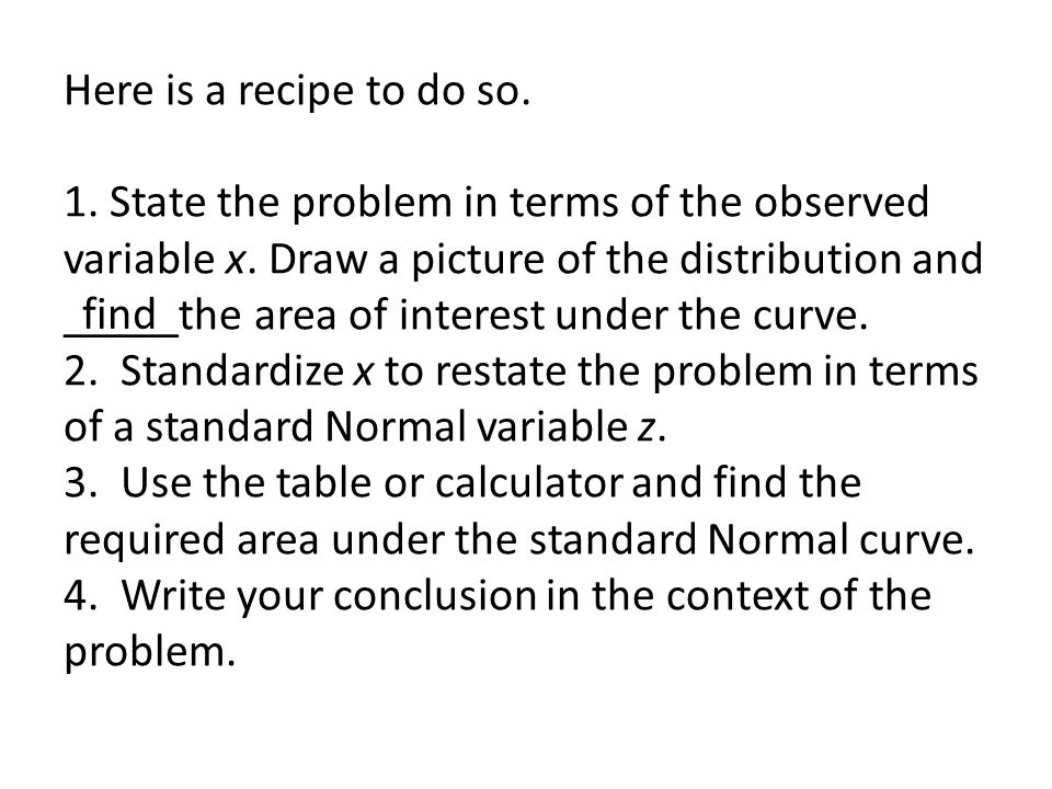 Here is a recipe to do so. 1. State the problem in terms of the observed variable x. Draw a picture of the distribution and _____the area of interest under the curve. 2. Standardize x to restate the problem in terms of a standard Normal variable z. 3. Use the table or calculator and find the required area under the standard Normal curve. 4. Write your conclusion in the context of the problem.