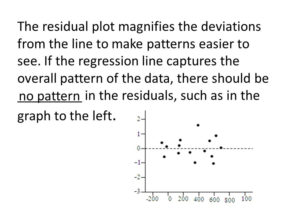 The residual plot magnifies the deviations from the line to make patterns easier to see. If the regression line captures the overall pattern of the data, there should be _________ in the residuals, such as in the graph to the left.