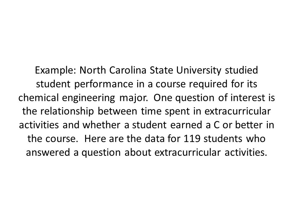 Example: North Carolina State University studied student performance in a course required for its chemical engineering major.